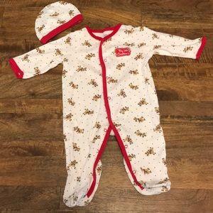 3/$20 🎄 My 1st Christmas Footie Pajamas + Hat Set